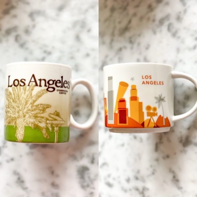 Los Angeles Starbucks city mugs.