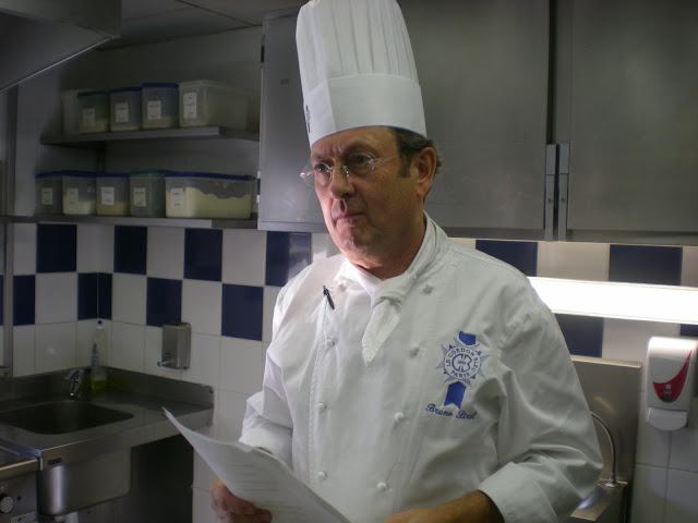 A chef at the famed Le Cordon Bleu in Paris gives instructions