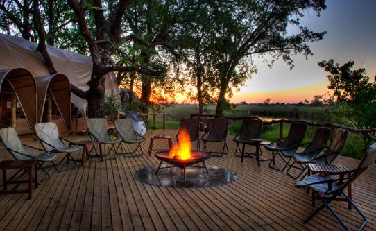 African safari evening campfire