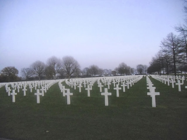 Rows of crosses and stars of David at Netherlands American Cemetery and Memorial