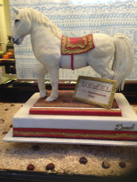 A marzipan sculpture of a Lipizzan horse at Cafe Demel in Vienna