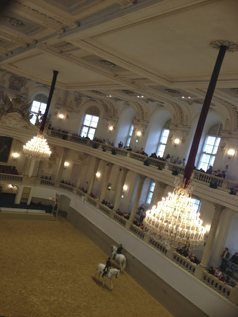The chandeliered Baroque hall of the Spanish Riding School in Vienna