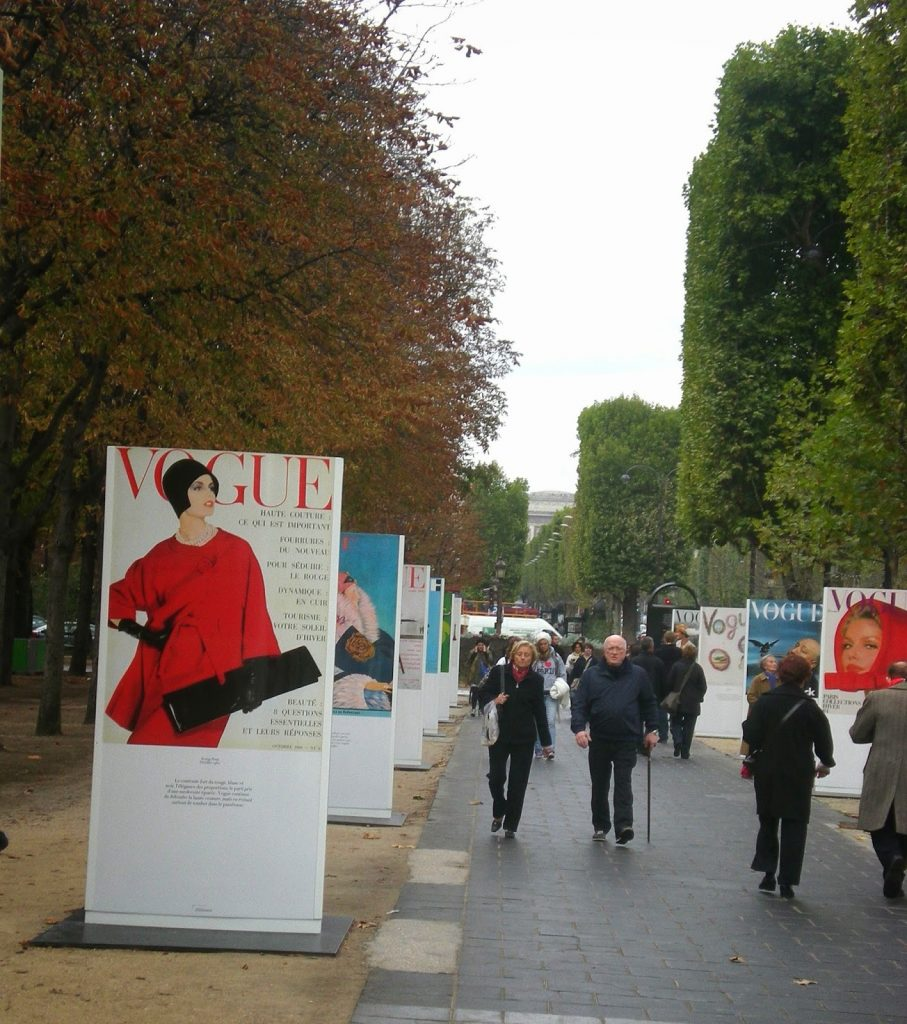 French Vogue presents classic covers in a retrospective along the Champs-Elysées