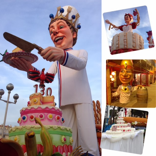 "Floats and paper mâché ""big heads"" that are the hallmark of the Nice carnival celebrations"