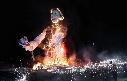 The Carnival King is burned in a bonfire at the end of Carnival