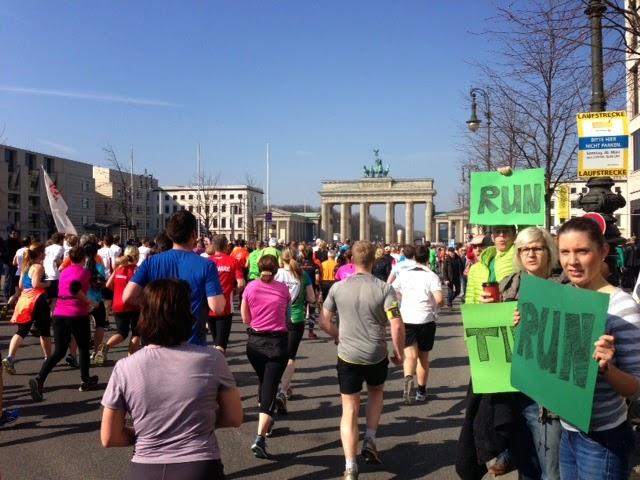 Running toward Brandenburg Gate