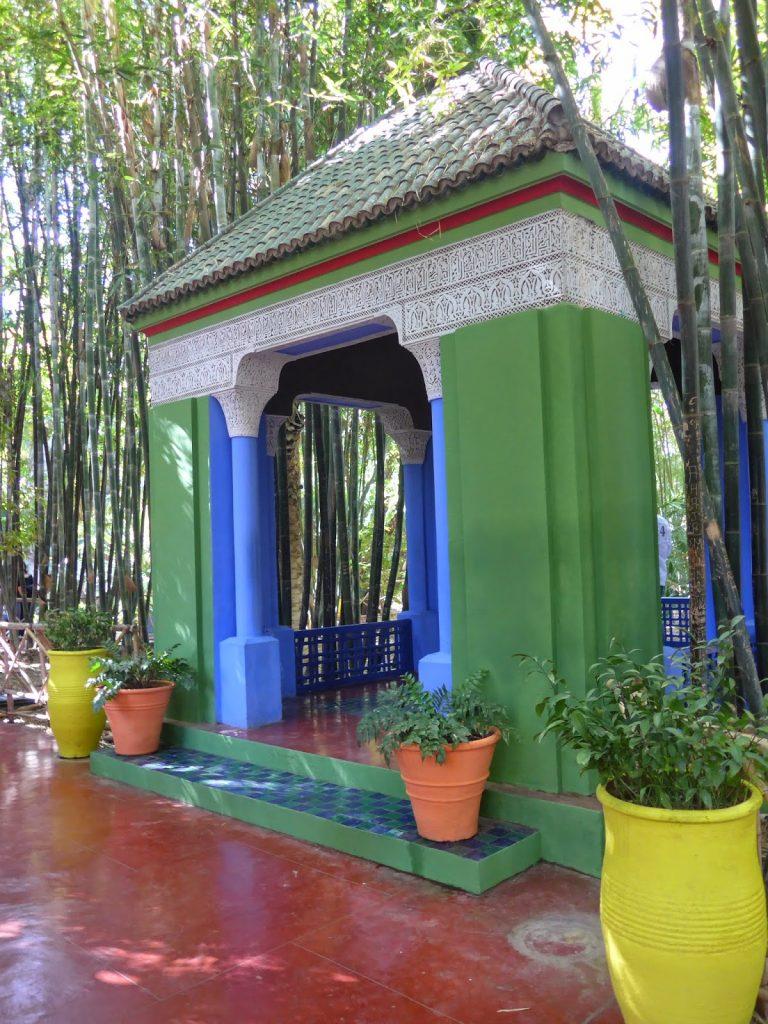 the colorful gazebo at Jardin Marjorelle in Marrakech.