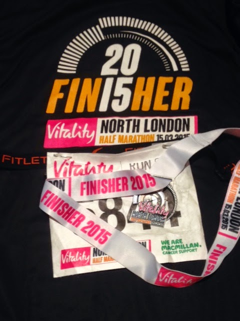 North London Half Marathon Finisher's tee and medal