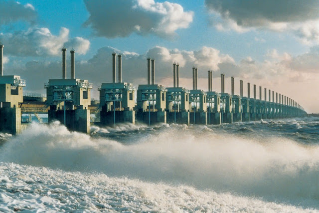 Delta Works, a series of dams and barriers to prevent flooding,  in Zeeland, The Netherlands