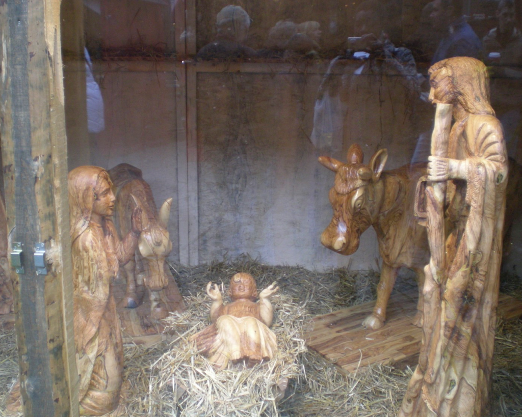 The hand-carved life-sized manger at Marktplatz is always a major attraction of Düsseldorf's Christmas market. Photo credit: Monique White