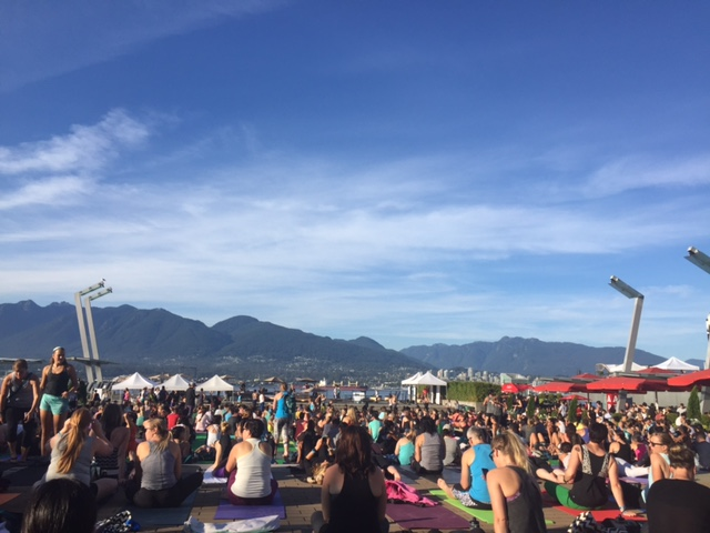 Pre-race yoga session during the Seawheeze half marathon weekend.