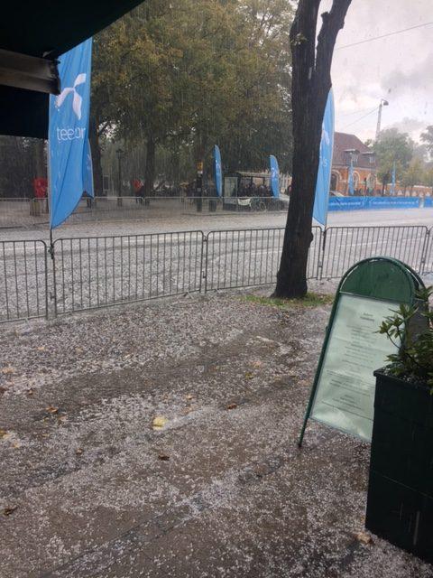 A hail storm during the Copenhagen Half Marathon