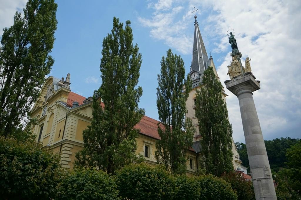 www.anunstoppablejourney.com: 5 Things to See in Ljubljana - St. James' Church and St. Mary's Column