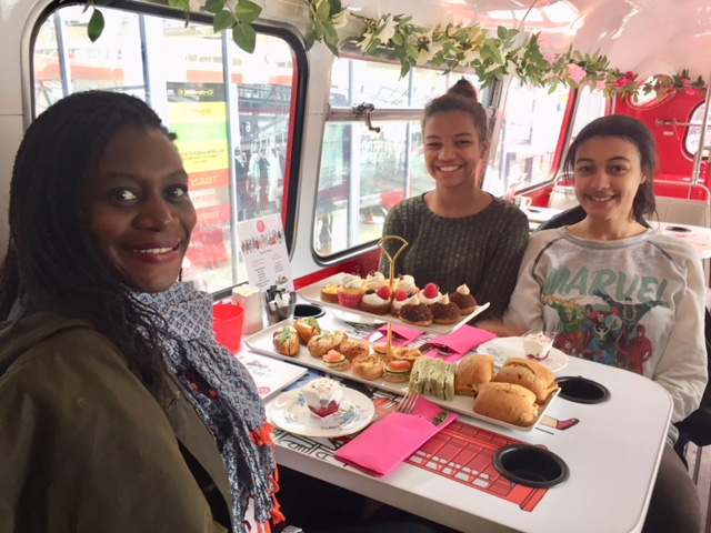 B Bakery Afternoon Tea on double-decker bus