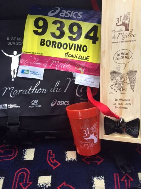 Finishers of the Marathon du Médoc were presented with a souvenir bottle of wine and other goodies.