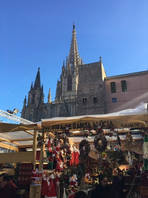 Fira de Santa Llúcia is Barcelona'a largest Christmas market and located in front of Barcelona's cathedral in the Gothic quarter. Photo credit: Monique White
