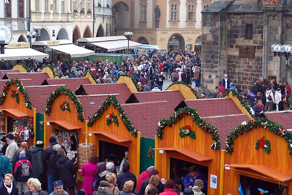 Prague's beautiful Old Town Square is decorated with red-roofed huts selling everything from Czech handicrafts and glass to wooden toys and Christmas tree ornaments. Photo credit: goeasteurope.about.com