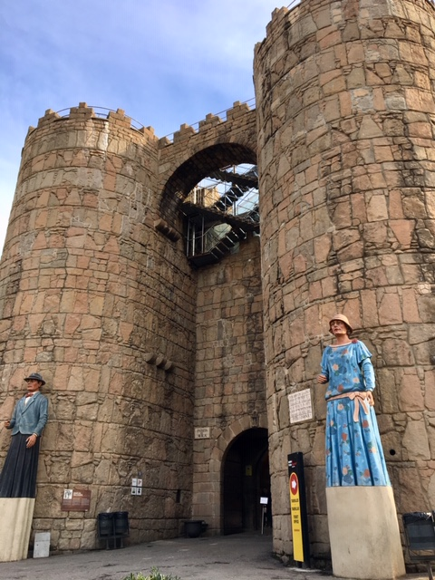 A replica of the city gate of the Castilian town of Ávila at model village Poble Espanyol.