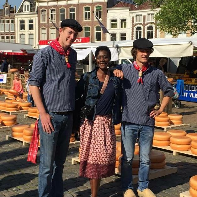 "With the kaasboers in Gouda. Say ""CHEESE!"" Expat 