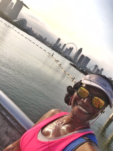 On the course of the Herbalife Marina Run, with an excellent view of the bay and the Singapore Flyer in the background. Photo credit: Monique White