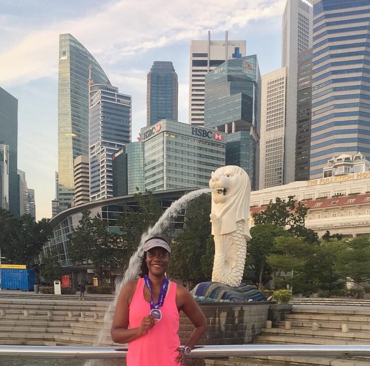 I ticked off country # 35 in my 50x50 goal with the Herbalife Marina Run in The Lion City, Singapore! Photo credit: Monique White