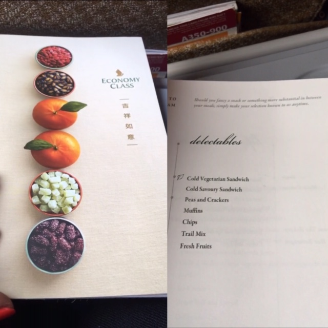 Singapore Airlines economy class in-flight dining menu.