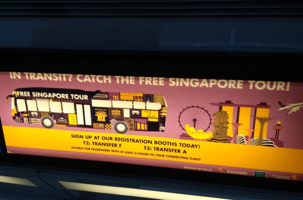Free tours of Singapore are available for travelers with layovers of 5.5 hours or longer and who are in Singapore less than 24 hours.