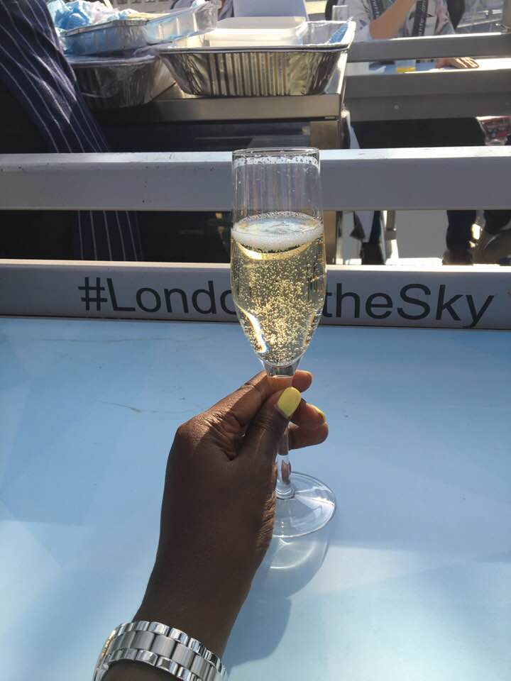 Sipping drinks while suspended 100 feet in the sky with London in the Sky.