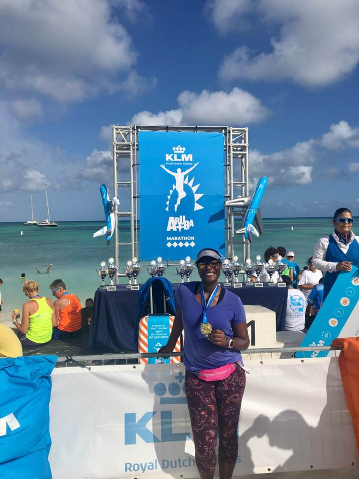 "One happy runner after the KLM Aruba Marathon on ""One Happy Island"", Aruba."