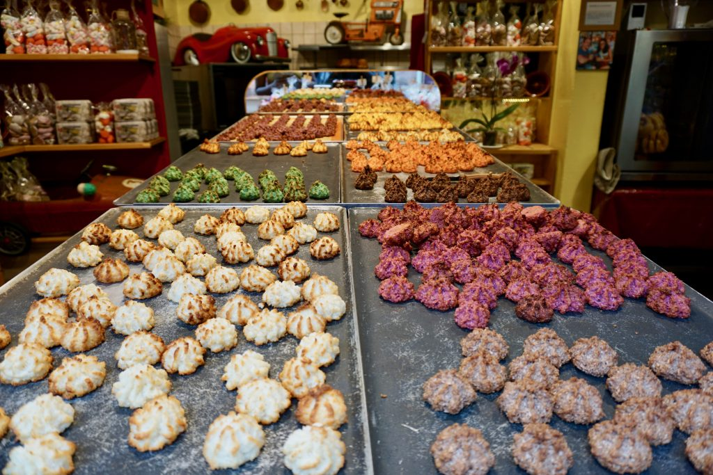 Alsatian macaroons in a variety of flavors, warm and fresh from the oven. Photo credit: Monique White