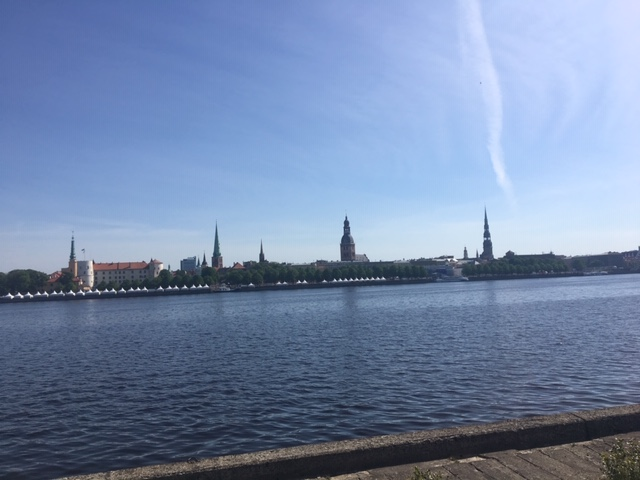 The relatively flat course took runners past the Daugava River, the largest in Latvia. Photo credit: Monique White