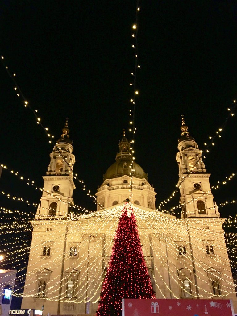 The St. Stephen's Christmas market is marked by the brightly lit Christmas tree and the small children's ice-skating rink in front of the basilica. Photo credit: Monique White
