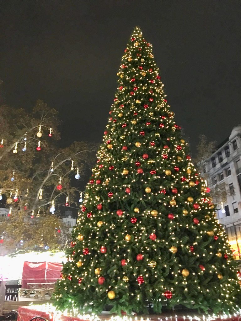 A huge Christmas tree surrounded by more than 100 wooden chalets is the focal point of the Vöroösmarty Square Christmas market, the oldest and largest in Budapest. Photo credit: Monique White