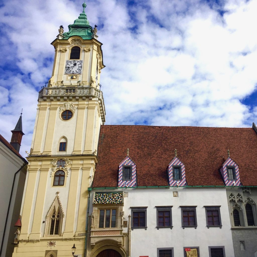 Bratislava's Old Town Hall dates back to medieval times and is located in the city's main square. Photo credit: Monique White