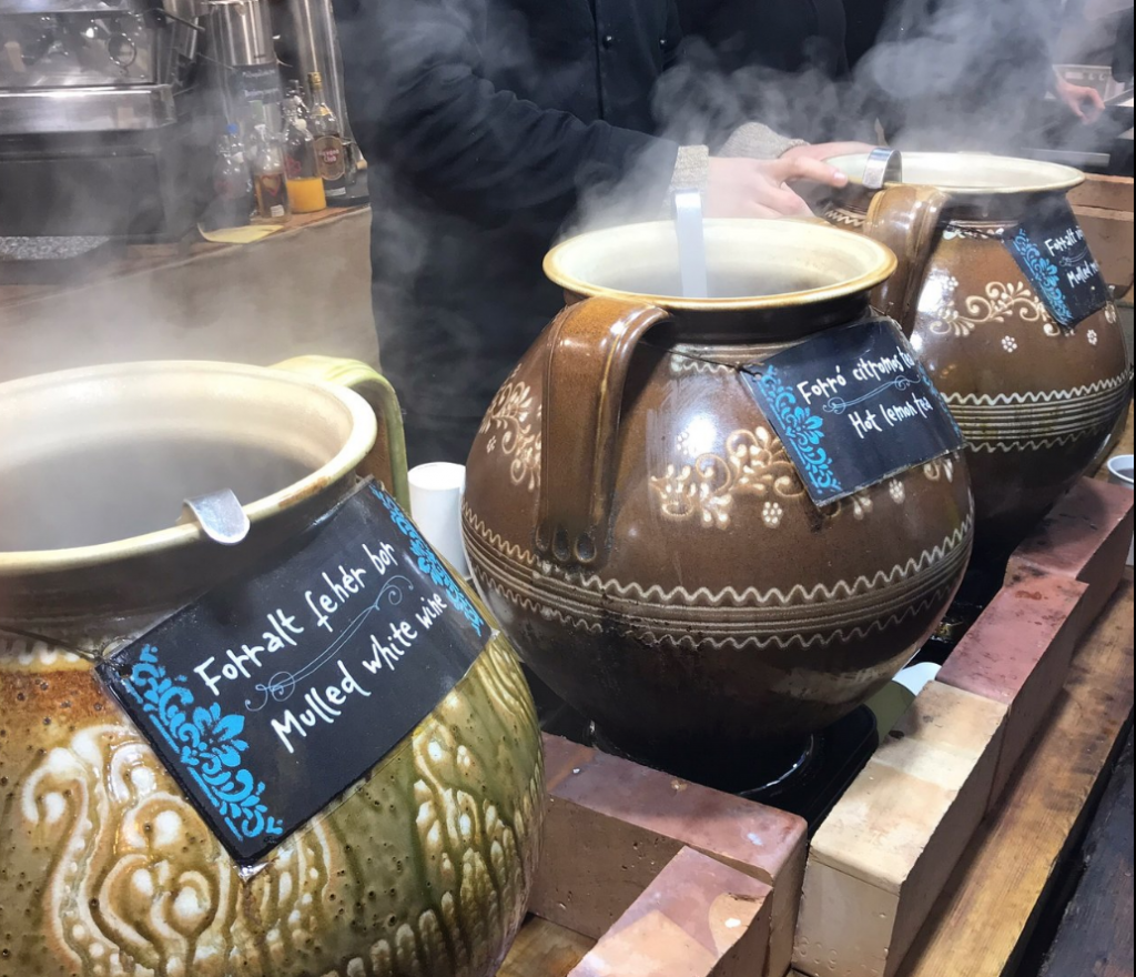 Stay warm while shopping the Budapest Christmas markets with a mug of mulled wine made with Hungary's brandy and national drink, Pálinka, and combined with fruit juice, honey, lemon, and spices.