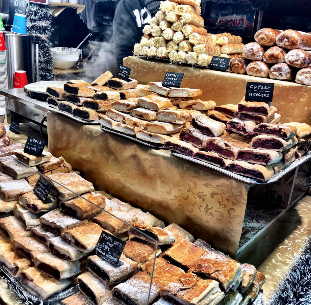 While at the Budapest Christmas markets, be sure to indulge in the Hungarian culinary specialties like Rétes (Hungarian strudel), Bejgli, the typical Hungarian Christmas dessert filled with poppy seeds or raisins and walnuts, and ginger cookies. Photo credit: Monique White