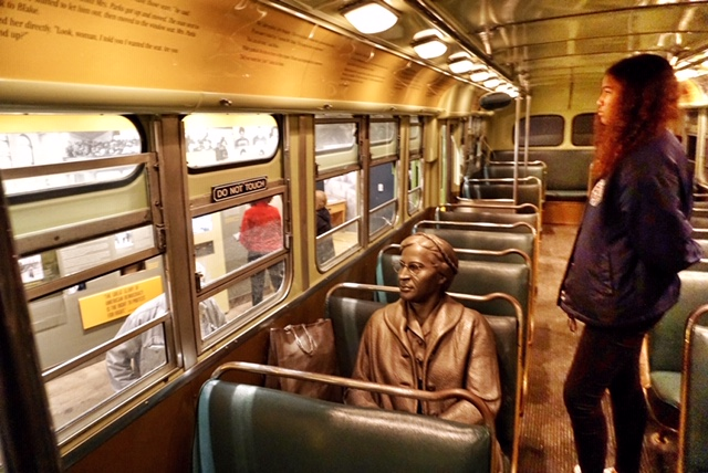 Rosa Parks on the bus at the National Civil Rights Museum. Photo credit: Monique White