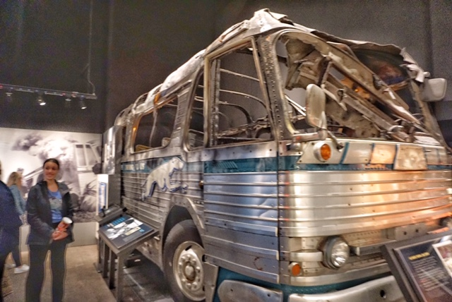 The burned-out Freedom Riders bus at the National Civil Rights Museum. Photo credit: Monique White