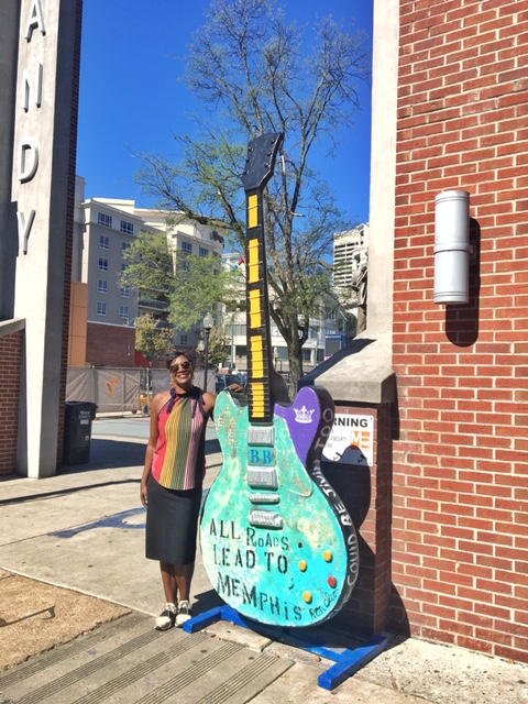 "The giant painted guitars found all around Memphis are part of Gibson's ""Guitartown"" and were auctioned off for charity. Photo credit: Monique White"
