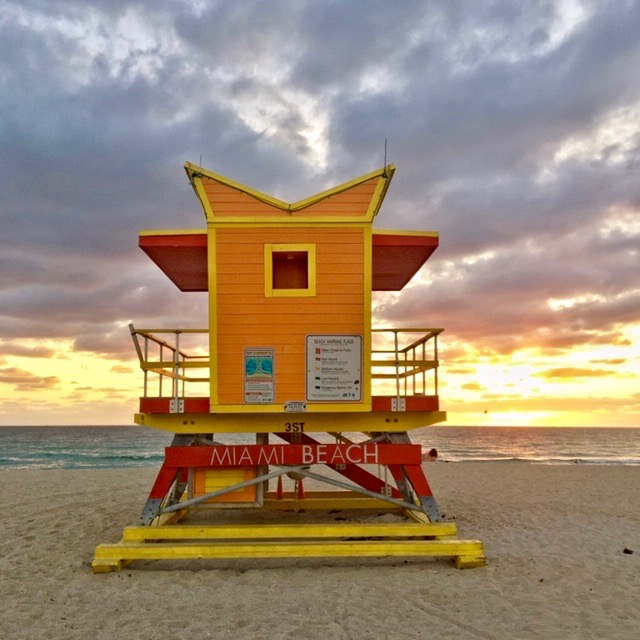 Dozens of lifeguard towers in a variety of colors and styles can be found all along the beach in Miami. Photo credit: Monique White