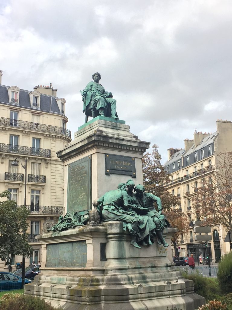 The statue of Alexandre Dumas at Place du Général Catroux, is one of the most popular stops on all of the Black history tours in Paris. Photo credit: Monique White