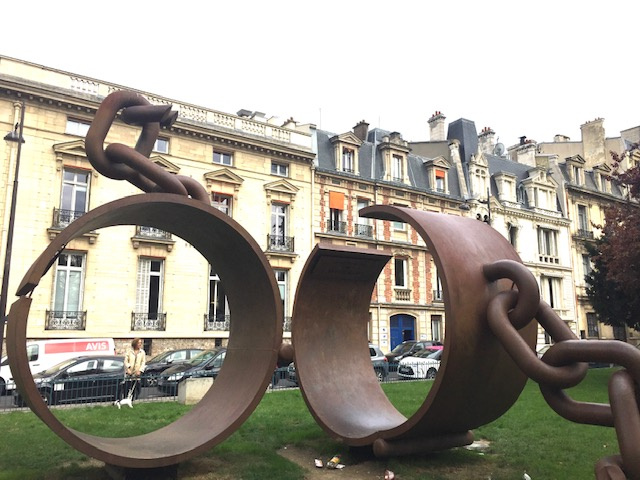 sculpture of broken chains is one of the few slave memorials in Paris. Photo credit: Monique White