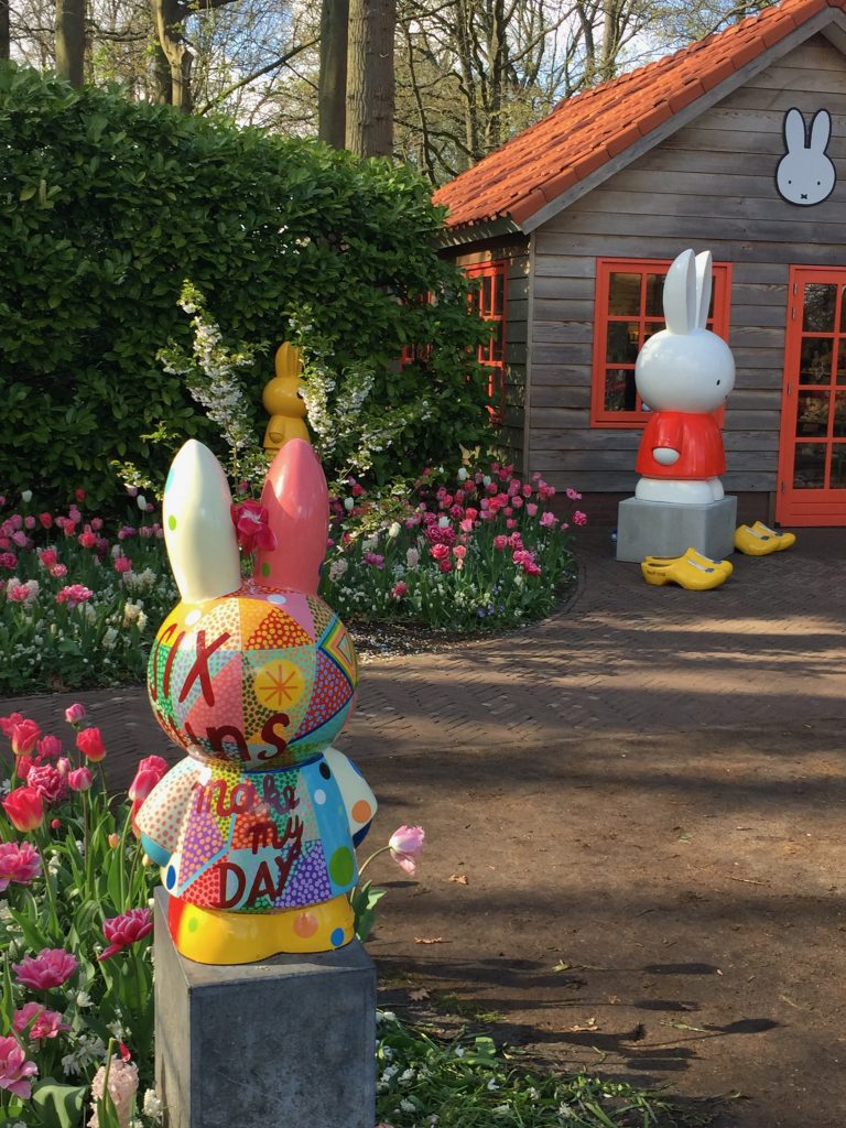 Visitors will find the beloved bunny, Miffy, on display throughout Keukenhof, including several statues from the Miffy Art Parade, and her signature tulip, Tulipa Nijntje. Photo credit: Monique White Keukenhof | Tulips | Netherlands | Holland | Netherlands itinerary | Netherlands Travel Guide | Holland Travel Guide | Holland Itinerary | Things to do in Holland | Netherlands Travel Tips | Holland Travel Tips | Amsterdam Travel Tips Things to do in Amsterdam | Amsterdam | Europe travel planning | travel | travel tips