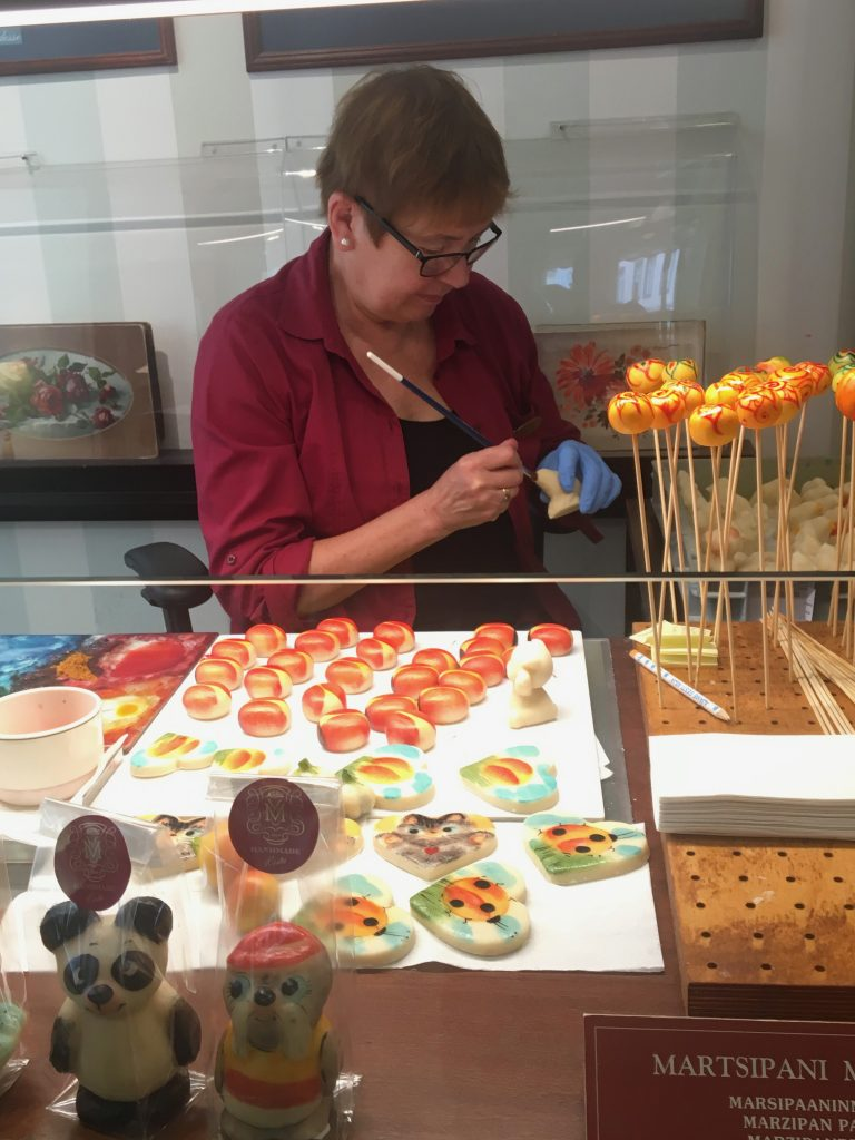 Nearly 200 hand-made Marzipan figurines painted by brush with food coloring are on display at the Kalev Marzipan Museum. Photo credit: Monique White