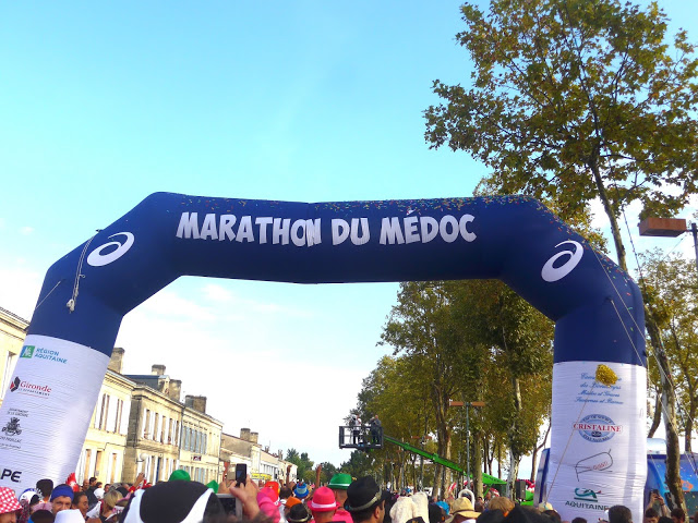 During Marathon du Médoc, runners dressed in costumes drink an obscene amount of wine and feast on gourmet nibbles all while running a marathon through the famous wine region's most beautiful vineyards and châteaux.