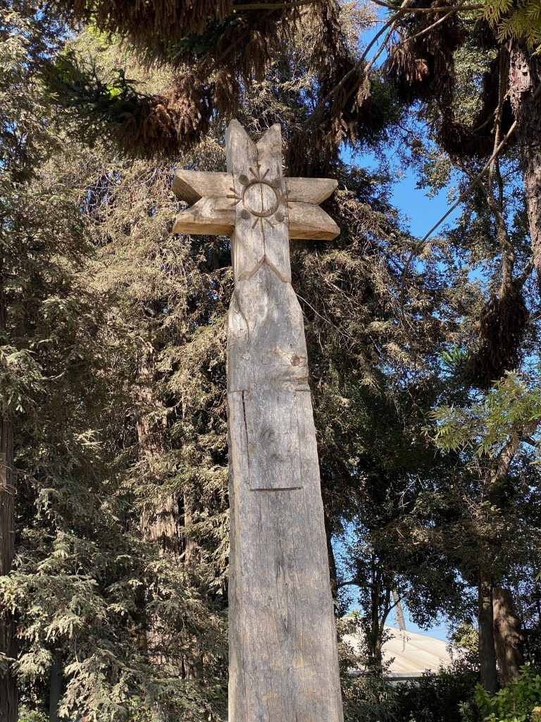 The Aliwen corner at Viña Undurrago has totem poles and vegetation from Chile's southern region, paying homage to the culture of the Mapuche people. Photo credit: Monique White